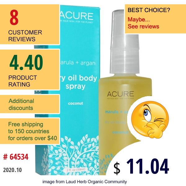 Acure, Dry Oil Body Spray, Coconut, 2 Fl Oz (59 Ml)