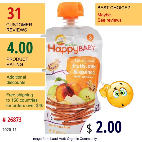 Happy Family Organics, Organic Baby Food, Hearty Meals, Fruits, Oats & Quinoa, Stage 3, 4 Oz (113 G)