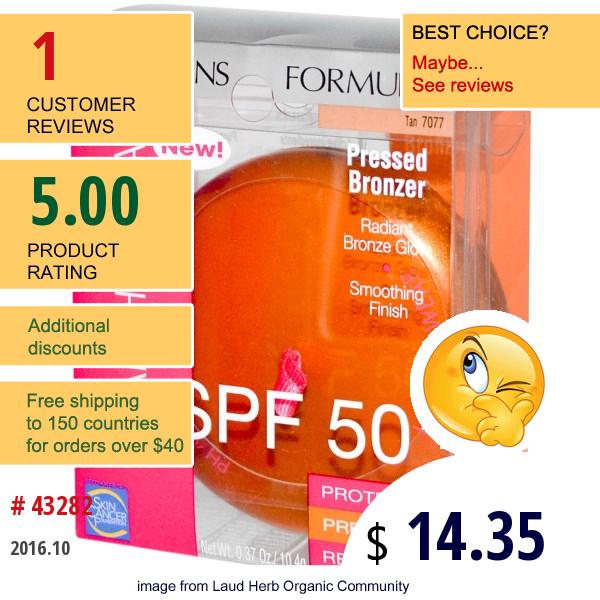 Physicians Formula, Inc., Healthy Wear, Pressed Bronzer, Spf 50, Tan, 0.37 Oz (10.4 G)