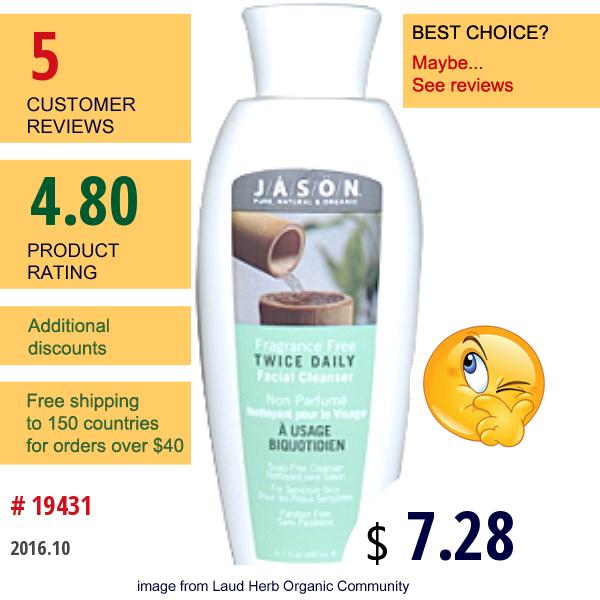 Jason Natural, Twice Daily Facial Cleanser, Fragrance Free, 6.7 Fl Oz (200 Ml)
