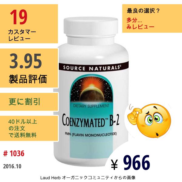 Source Naturals, コエンザイメイテッド™ B-2, 舌下錠剤, 60 錠