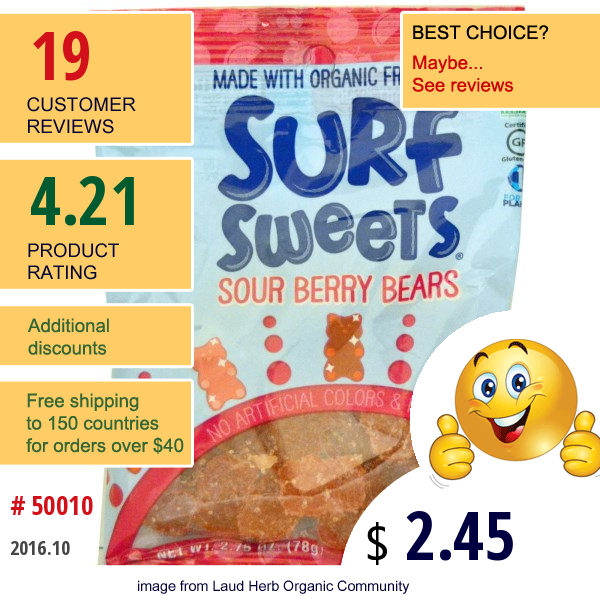 Surfsweets, Sour Berry Bears, 2.75 Oz (78 G)