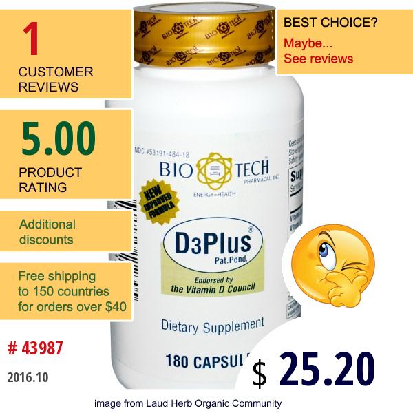 Bio Tech Pharmacal, Inc, D3Plus, 180 Capsules