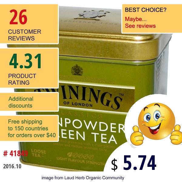 Twinings, Classics, Gunpowder Green Loose Tea, 3.53 Oz (100 G)