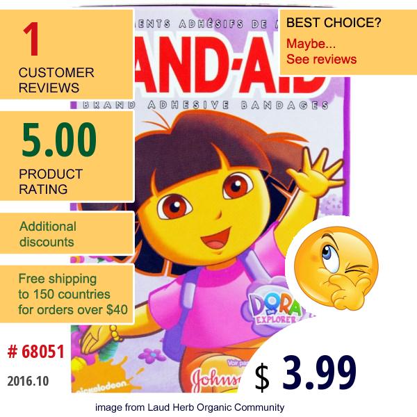 Band Aid, Brand Adhesive Bandages, Nickelodeon, Dora The Explorer, 25 Assorted Sizes