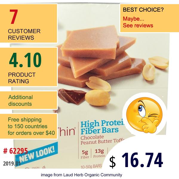 Thinkthin, High Protein & Fiber Bars, Chocolate Peanut Butter Toffee, 10 Bars, 1.76 Oz (50 G) Each