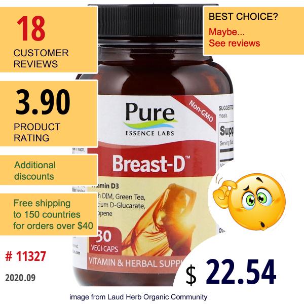 Pure Essence, Breast-D, 30 Vegi-Caps