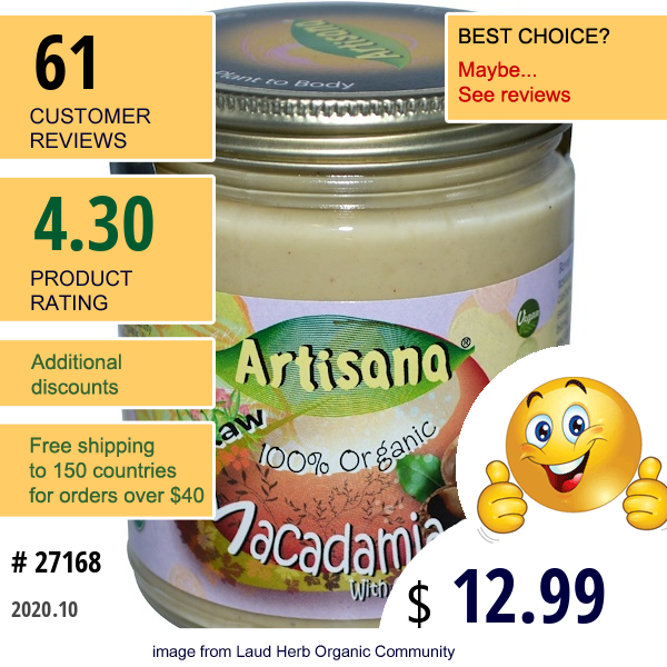 Artisana, 100% Organic Raw Macadamia Butter With Cashews, 8 Oz (227 G)
