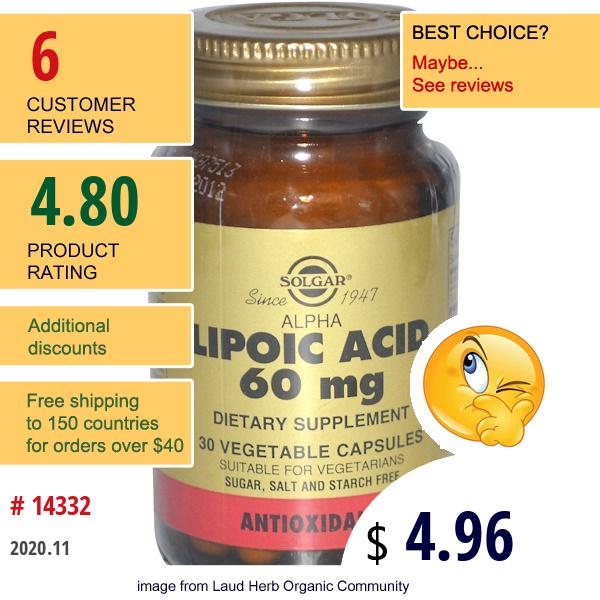 Solgar, Alpha Lipoic Acid, 60 Mg, 30 Veggie Caps