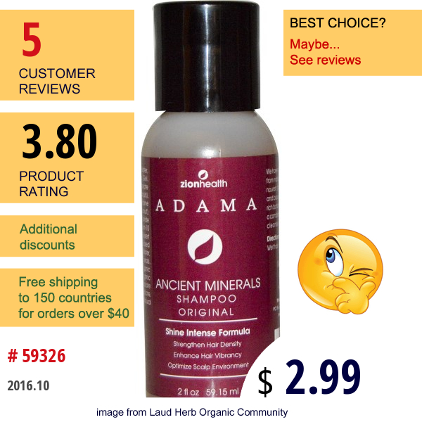 Zion Health, Adama, Ancient Minerals Shampoo, Original, 2 Fl Oz (59.15 Ml)