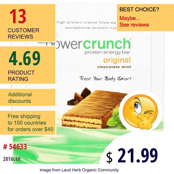 Bnrg, Power Crunch Protein Energy Bar, Original, Chocolate Mint, 12 Bars, 1.4 Oz (40 G) Each