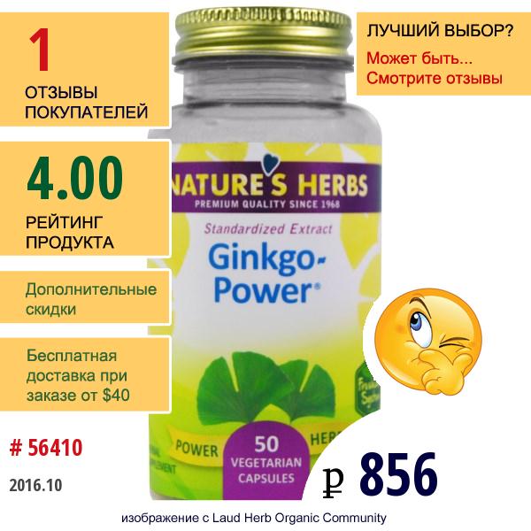 Natures Herbs, Gingko-Power (Сила Гинкго), 50 Вегетарианских Капсул