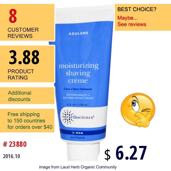 Earth Science, Azulene, Moisturizing Shaving Cream For Men, 6 Fl Oz (170 Ml)