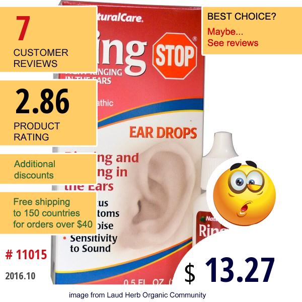 Natural Care, Ring Stop, Ear Drops, 0.5 Fl Oz (15 Ml)