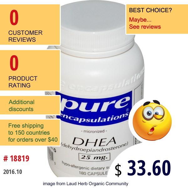Pure Encapsulations, Dhea, 25 Mg, 180 Capsules
