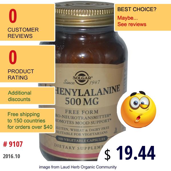 Solgar, L-Phenylalanine, 500 Mg, 100 Veggie Caps