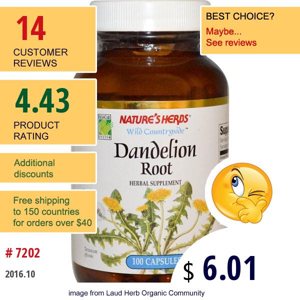 Natures Herbs, Dandelion Root, 100 Capsules