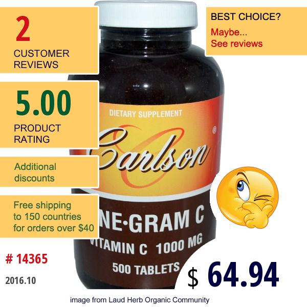 Carlson Labs, One·gram C, Vitamin C, 1000 Mg, 500 Tablets