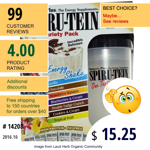 Natures Plus, Spiru-Tein Energy Shake, Variety Pack, With Shaker Cup, 7 Packets, 34 G Each