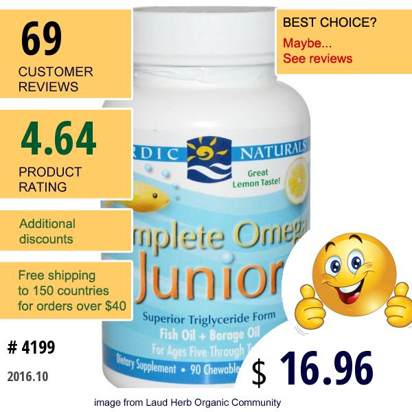 Nordic Naturals, Complete Omega Junior, Lemon, 500 Mg, 90 Chewable Soft Gels