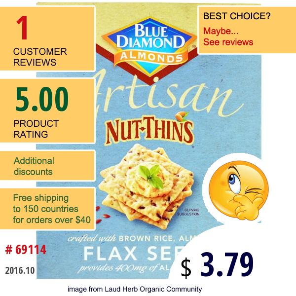 Blue Diamond, Artisan Nut-Thins, Flax Seeds Cracker Snacks, 4.25 Oz (120.5 G)