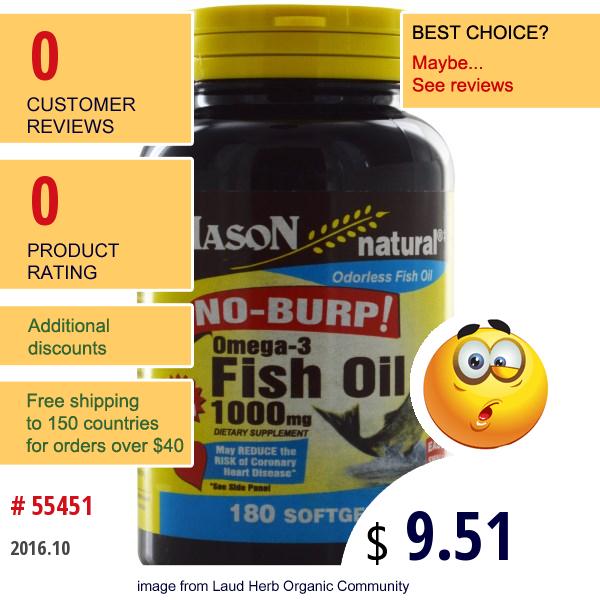 Mason Vitamins, Omega-3 Fish Oil, 1000 Mg, 180 Softgels