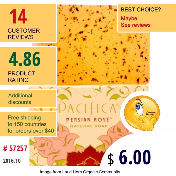 Pacifica, Natural Soap, Persian Rose,  6 Oz (170 G)