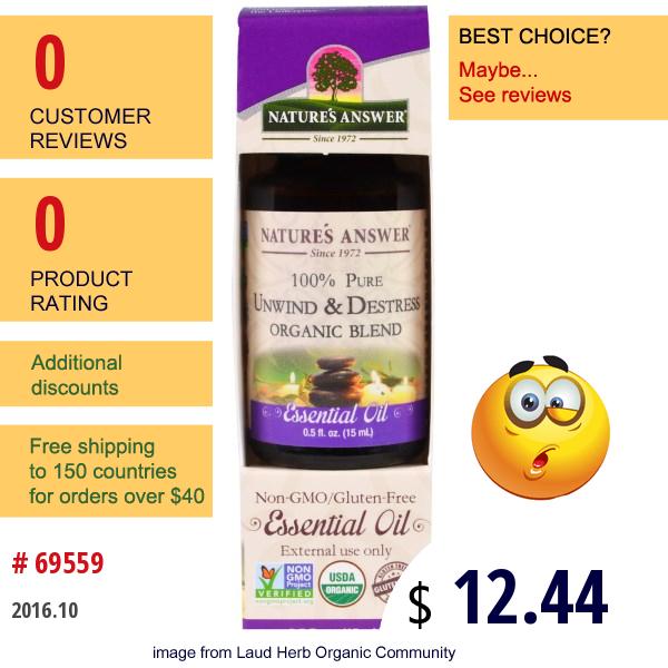 Natures Answer, 100% Pure, Organic Blend Essential Oil, Unwind & Destrees , 0.5 Fl Oz (15 Ml)