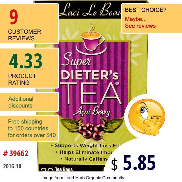 Natrol, Laci Le Beau, Super Dieters Tea, Acai Berry, Caffeine Free, 30 Tea Bags, 2.63 Oz (75 G)