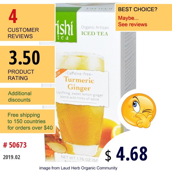 Rishi Tea, Organic Artisan Iced Tea, Caffeine-Free, Turmeric Ginger, 5 1-Quart Iced Tea Sachets, 1.76 Oz (50 G)
