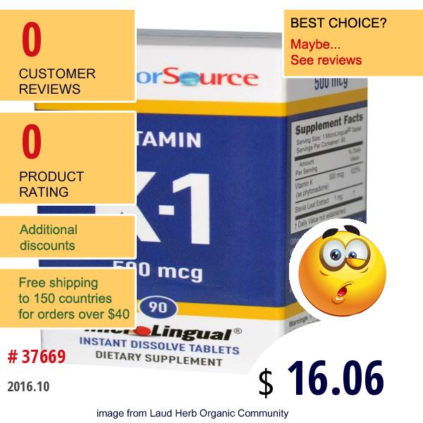 Superior Source, Vitamin K-1, 500 Mcg, 90 Microlingual Instant Dissolve Tablets