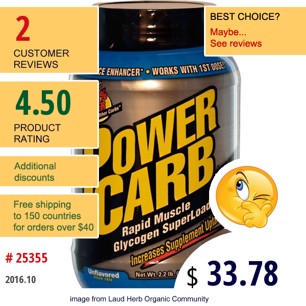 Labrada Nutrition, Power Carb, Rapid Muscle Glycogen Superloader, Unflavored, Sugar-Free, 2.2 Lbs (998 G)