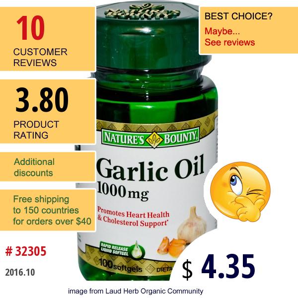 Natures Bounty, Garlic Oil, 1000 Mg, 100 Softgels