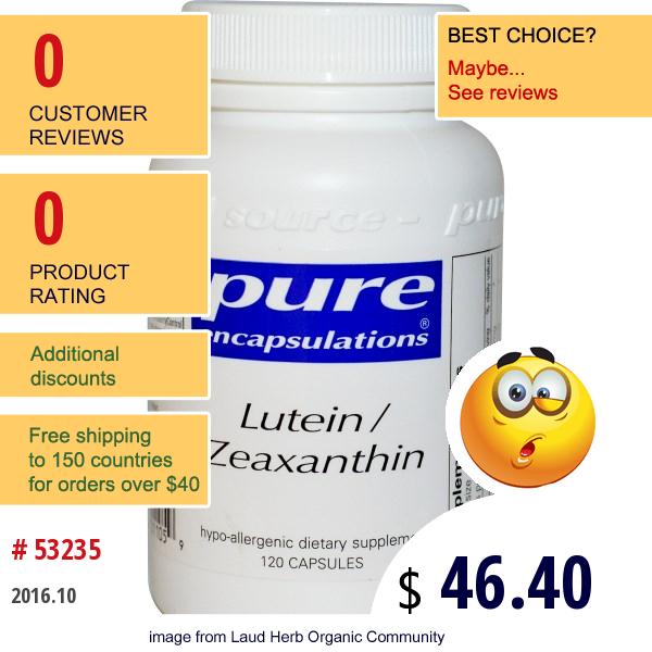 Pure Encapsulations, Lutein / Zeaxanthin, 120 Capsules