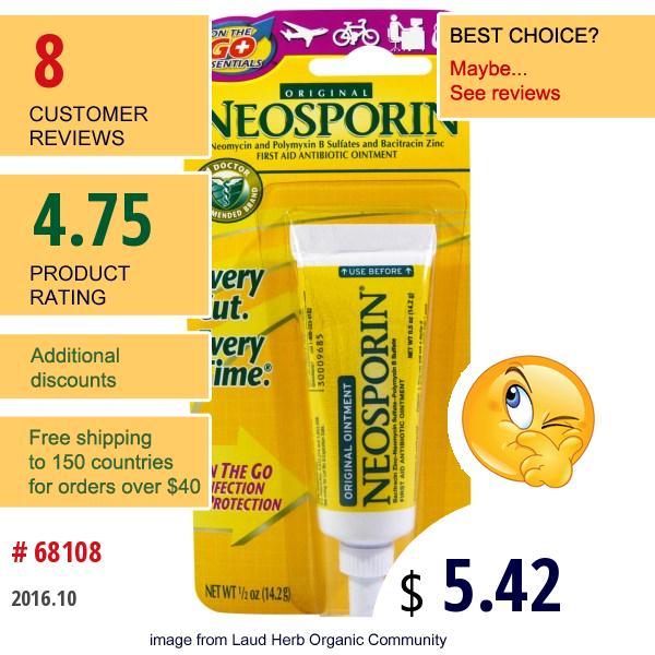 Neosporin, First Aid Antibiotic Ointment, Original, 1/2 Oz (14.2 G)