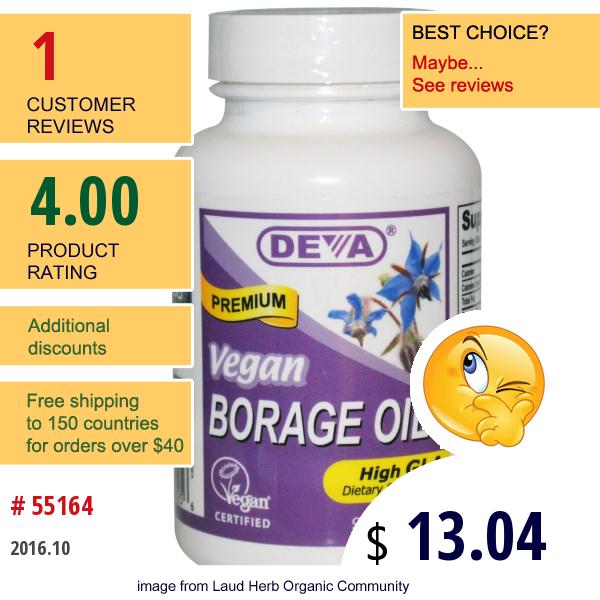 Deva, Borage Oil, 90 Vegan Caps