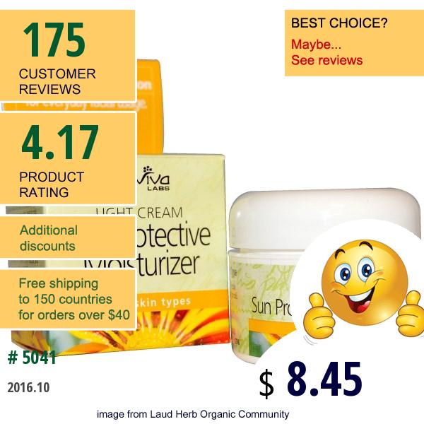 Reviva Labs, Sun Protective Moisturizer Light Cream, 1.5 Oz (42 G)