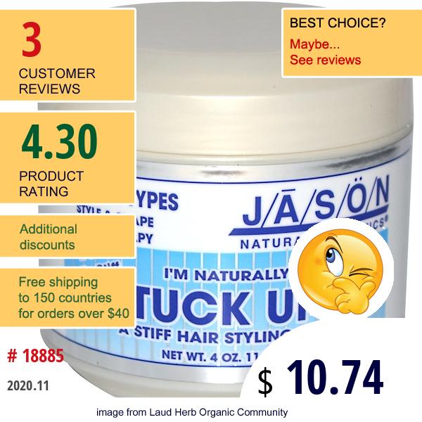 Jason Natural, I'M Naturally Stuck Up!, A Stiff Hair Styling Wax, 4 Oz (119 G)