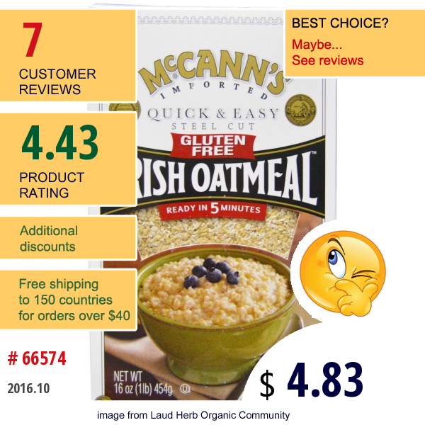 Mccanns Irish Oatmeal, Quick & Easy, Steel Cut, Gluten Free, Irish Oatmeal, 16 Oz (454 G)