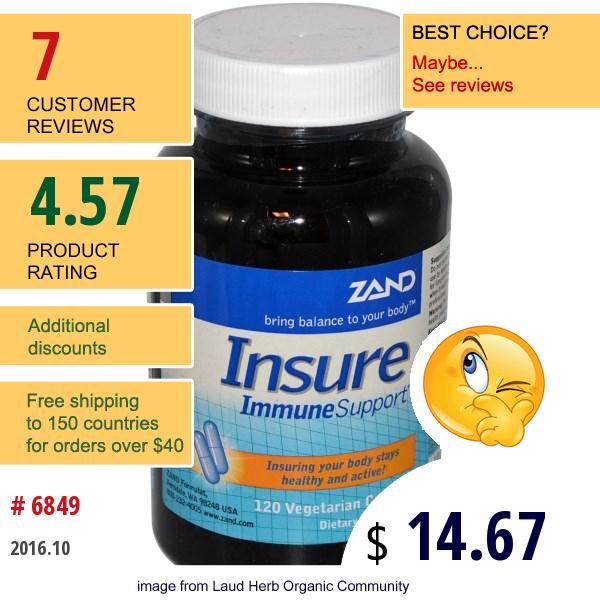 Zand, Insure, Immune Support, 120 Veggie Caps