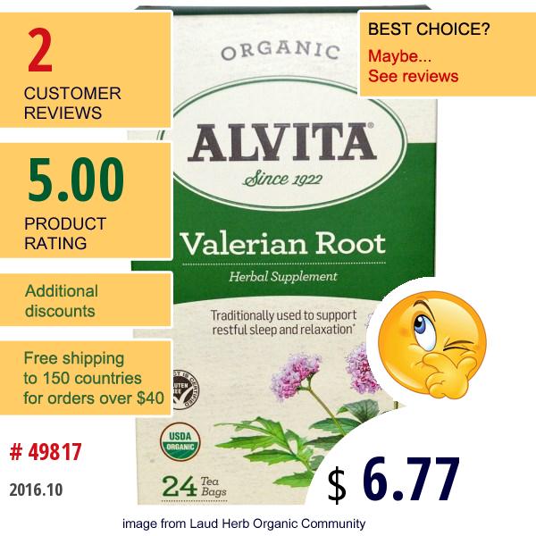 Alvita Teas, Valerian Root, Organic, Caffeine Free, 24 Bags, 2.12 Oz (60 G)
