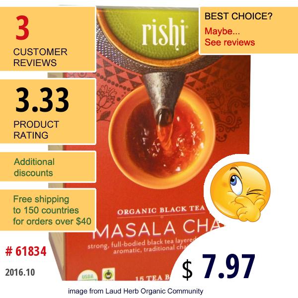 Rishi Tea, Organic Black Tea, Masala Chai, 15 Tea Bags, 1.85 Oz (52.5 G) Each