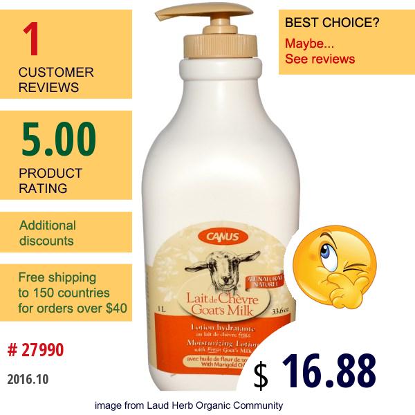 Canus, Goats Milk, Moisturizing Lotion, With Marigold Oil, 33.6 Oz (1 L)