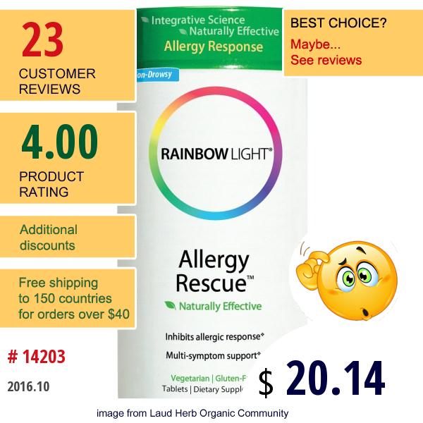 Rainbow Light, Allergy Rescue, 60 Tablets