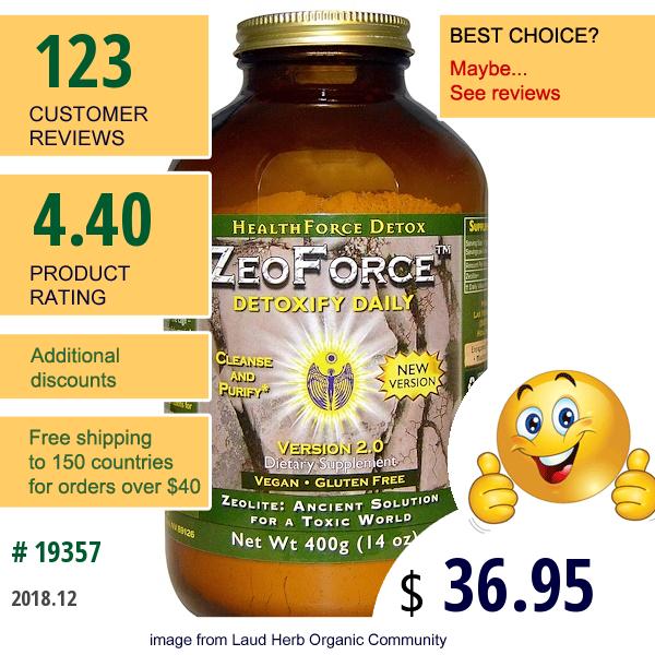 Healthforce Superfoods, Zeoforce, Detoxify Daily, 14 Oz (400 G)